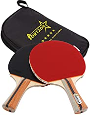 Portzon Ping Pong Paddle Advanced Training Table Tennis Racket,Wooden Blade Surrounded by Rubber for Excellent