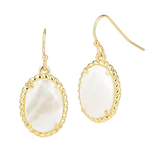 Oval Opaque Stone Gold Tone Dangle Earrings (Mother of pearl) (Wire French Turquoise Earrings Oval)