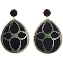 Ippolita Polished Rock Candy 18K Yellow Gold Onyx and Mother of Pearl Teardrop Earrings