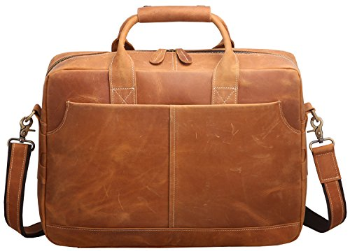 Iswee Crazy Horse Cowhide Leather Durable Shoulder Briefcase, 17.3