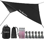 Tolaccea Camping Tarp UPF 50+, 3000mm Waterproof Hammock Rain Fly, 10 x 10 ft Sunshade, Multifunctional Shelte