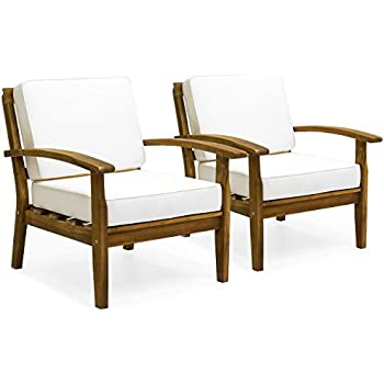 Exceptionnel Best Choice Products Set Of 2 Outdoor Acacia Wood Club Chairs W/Cushions  (Cream)