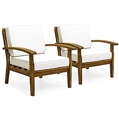 Best Choice Products Set of 2 Outdoor Acacia Wood Club Chairs for Patio, Porch, Poolside w/Cushions - Cream - COMFORTABLE LOUNGE CHAIRS: Outdoor wooden club chair set has a deep-seated design with thick cushioning, perfect for a long, relaxing day on the porch, patio, or lawn RELAX WITH A FRIEND: Including 2 wooden club chairs, it's the perfect set for you and a friend or relative to lounge in comfort and good company WATER-RESISTANT CUSHIONS: Cushions are made with water-resistant polyester exterior, allowing easy cleaning of accidental spills or blemishes caused by the elements - patio-furniture, patio-chairs, patio - 41HT erXC0L. SS400  -