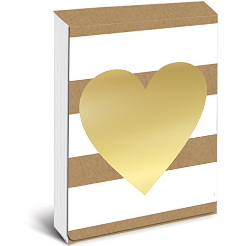 Graphique Kraft Heart Pocket Notes - Pocket Notebook with Beautiful Golden Heart Note Design, Embellished with Gold Foil & Matching Magnetic Case, 75 Full Color Pages, 3