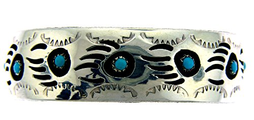 Made in the USA by Navajo Pearlene Spencer. Sterling-silver Turquoise Bear Paw Shadow Box Women's Bracelet (Navajo Bear)