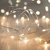 Luces de cadena LED, ANJAYLIA 16.5Ft /5M 50leds Luces de hadas con pilas para las decoraciones del Festival de bodas de la fiesta en casa de jardín (blanco cálido)