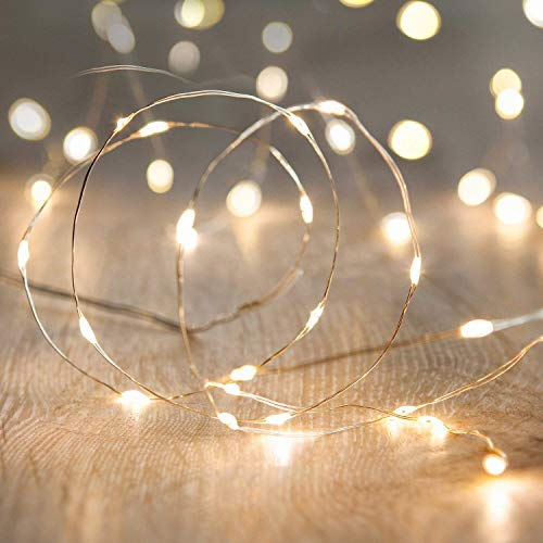 LED String Lights, ANJAYLIA 16.5Ft/5M 50leds Battery Operated Fairy Lights for Garden Home Party Wedding Festival Decorations(Warm White)]()