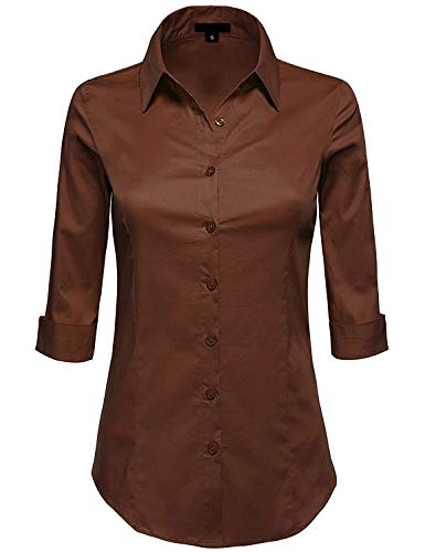 (MAYSIX APPAREL 3/4 Sleeve Stretchy Button Down Collar Office Formal Shirt Blouse For Women BROWN S)