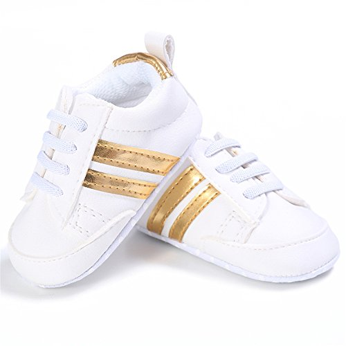 Binwwede Baby Girls Boys Stripe Casual Sneakers Toddler Infant Soft Sole Crib Shoes First Walkers Shoes (6-12months, Gold)