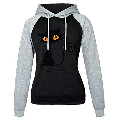 (Cat Print Long Sleeve Solid Sweatshirt Hooded Pullover Shirt Tops Women)