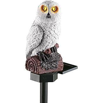 Beautiful Solar White Hooting Owl Garden Decor Yard Stake, White