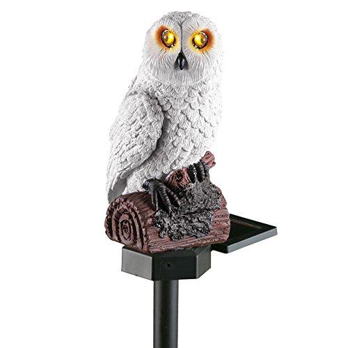 Collections Etc Solar White Hooting Owl Garden Decor Yard Stake, White -