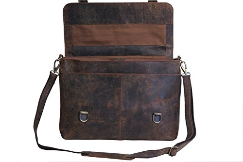 KomalC 15 Inch Retro Buffalo Hunter Leather Laptop Messenger Bag