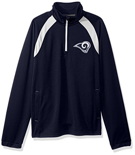 G-III Sports NFL Los Angeles Rams High Impact Half Zip Pullover, X-Large, Navy