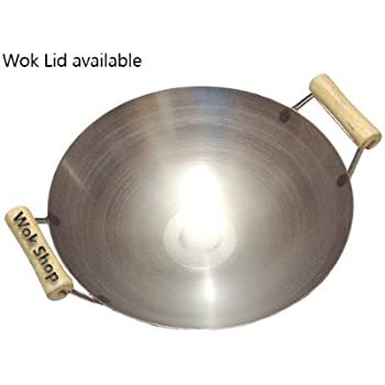 14 inch Carbon Steel Wok w/ 2 Wood Handles (round bottom) USA made. Lid NOT included.