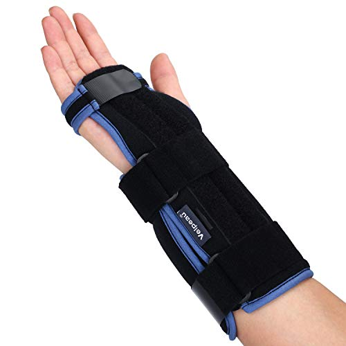Velpeau Carpal Tunnel Wrist Brace -Night Sleep Wrist Support for Men, Women, Tendonitis, Arthritis, Broken, Sports Injuries Pain Relief -Removable Splint -Adjustable Ergonomic Fit (Right Hand, ()