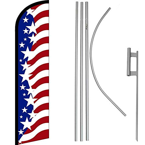 ALBATROS USA Star Spangled RWB Windless Banner Flag with 16in Flagpole Kit Ground for Home and Parades, Official Party, All Weather Indoors Outdoors