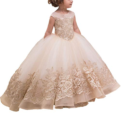 gsunmmw Gold Lace Flower Girl Dresses for Wedding Beaded Pageant Ball Gown First Communion Dress for Girls -