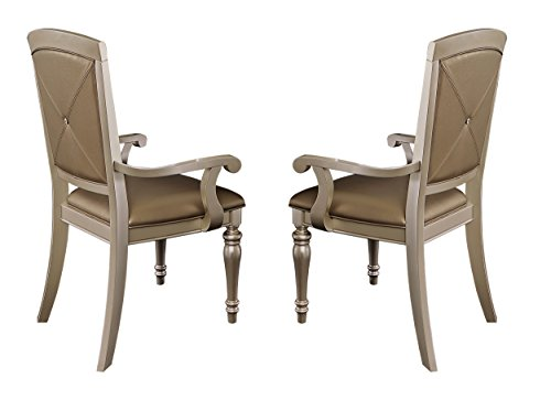 Homelegance Orsina Dining Chairs with Arm Luxurious Design with Crystal Button Tufting (Set of 2), Pearl - Homelegance Dining Room Chair