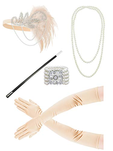 1920s Gatsby Flapper Accessories Headband Necklace Bracelet Gloves(Bb)]()