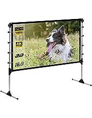 Outdoor Indoor projectorscherm met standaard 100 inch draagbaar projectorscherm 16: 9 opvouwbaar mobiel projectorscherm met standaard voor thuisbioscoopcamping, voor- en achterprojectie