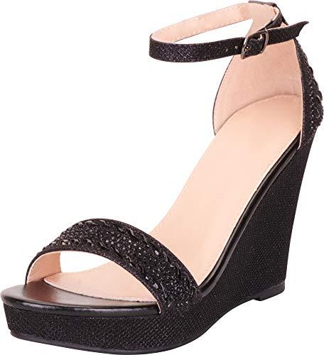 Cambridge Select Women's Crystal Rhinestone Chunky Platform Wedge Sandal,8.5 B(M) US,Black Glitter ()