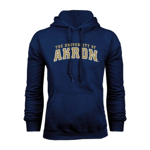 CollegeFanGear Akron Navy Fleece Hoodie Arched University of Akron