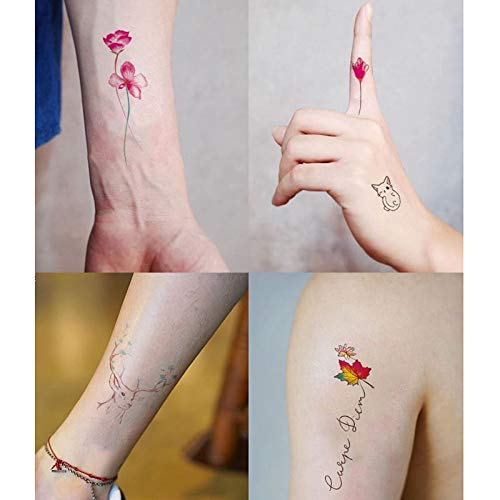 FACAILE Etiquetas Engomadas Florales del Tatuaje De La Historieta ...