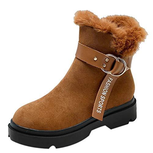 (Mysky Fashion Women Vintage Solid Warm Ankle Snow Boots Ladies Casual Buckle Platform Zipper Boots)