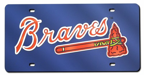 - Atlanta Braves Laser Cut Navy License Plate