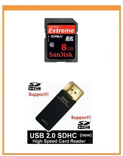 Sandisk Extreme Usb 2.0 Reader (NEW SanDisk 8GB Extreme Class10 SDHC Memory Card (Bulk Package) + USB2.0 High Speed Card)