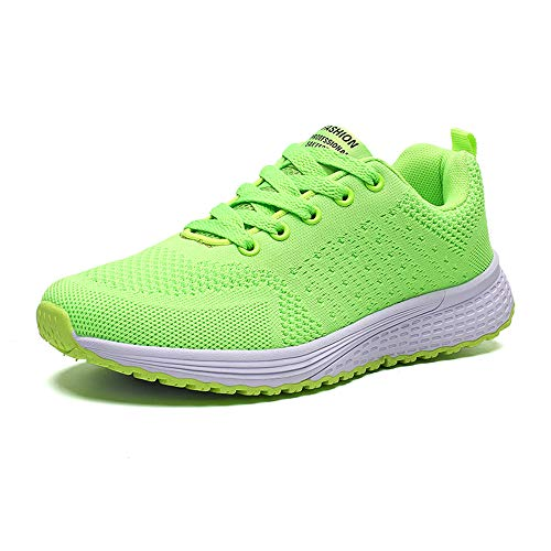 PAMRAY Women's Running Shoes Tennis Athletic Jogging Sport Walking Sneakers Gym Fitness Golf Bright-Green 40