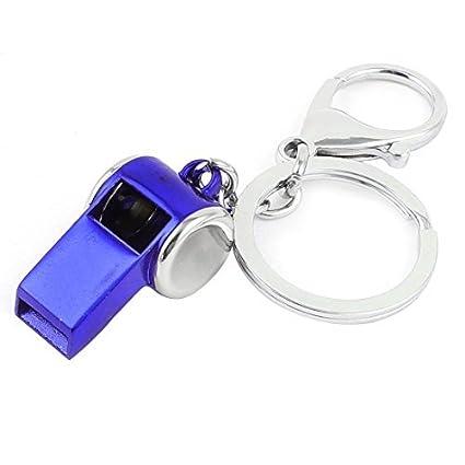 Amazon.com : El tono de Plata Real llavero de Metal Azul ...