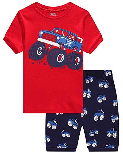 KikizYe Little Boys Truck Short Sleeve Pajamas 100% Cotton Short Sets Toddler Size 4T