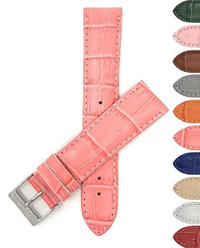Bandini 20mm Womens Italian Leather Watch Band Strap - Hot Pink - Alligator Pattern