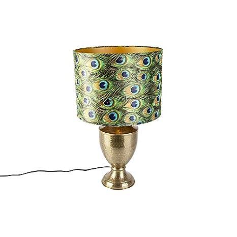 QAZQA Retro/Vintage Lámpara de mesa vintage dorada con ...