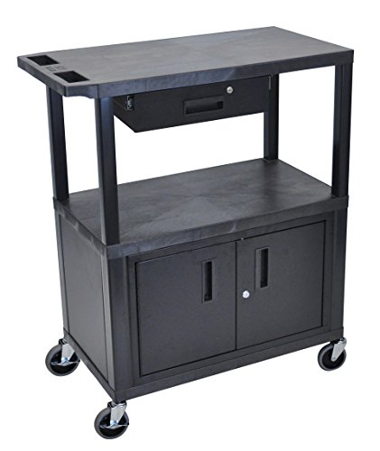LUXOR EC38CD-B Cart with 3 Shelves, Cabinet and Drawer, 18'' x 32'', Black by Luxor
