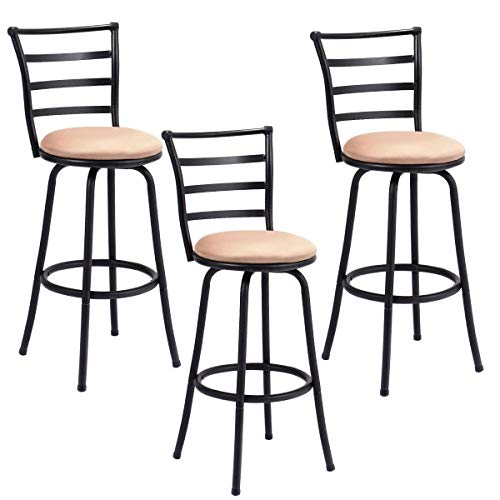 Set of 3 Steel Frame Counter Height Modern Swivel Bar Stools Soft Seat Ergonomic Comfortable Back Rest with Stylish Modern Design (Bar For Inch Bar Stool 42 Height)