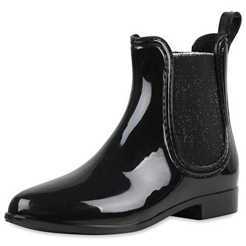 napoli-fashion Damen Lack Stiefeletten Gummistiefel Chelsea Boots Schuhe Gr. 36-41 Jennika Schwarz Schwarz