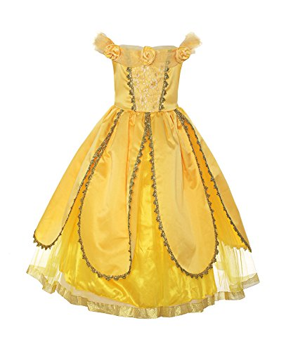 Costumes Belle Halloween Princess (ReliBeauty Girls Princess Belle Costume Belted Dress Up, Yellow,)