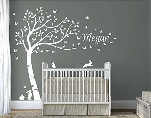 (Personalised Name with Full Size Customisible Beautiful Bunny Rabbits Tree Nursery Room Wall Decal Sticker DD014)