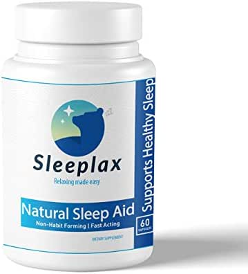 Sleeplax | Natural Sleeping Aid, Stress, Anxiety & Insomnia Relief Supplement | Herbal Gentle Sleeping Aid Pill with Valerian, Melatonin, Chamomile, Lemon Balm | 60 Non-Habit Forming Vegan Capsules