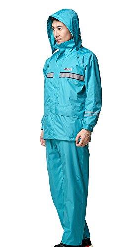 Liveinu Adult PVC 2-Piece Protective Rainsuit with Reflective Stripes Sky Blue 3XL