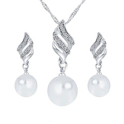 Barhalk Pearl Earddrop Beautiful Classic Pearl Drop Dangle Earrings Alloy Earrings Women's Special Occasion Wedding Anniversary Jewelry (Silver) (Silver) ()