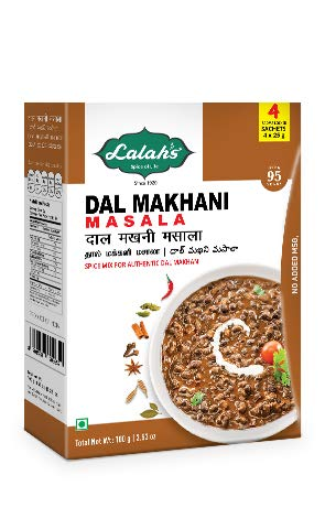 Lalah's Dal Makhani Masala Powder, Curry Spice Mix, Gluten Free, No Trans Fat, No Preservatives or Colours Added, No MSG - (4 x 25g aroma locked sachets), 100 grams (3.5 (Dal Masala Spice Blend)