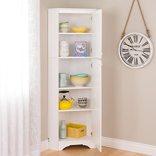 Kitchen Pantry Cabinet Base Notched to Accommodate Baseboards Door can be Installed to Open Left ot Right 1 Fixed and 3 Adjustable Shelves Wall Anchor Provided White Laminate Finish White Door Knob by GAShop