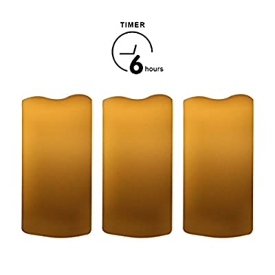 Outdoor Flameless Pillar Candles Set of 3,Waterproof Realistic Flickering Led Battery Operated Electric Candles with Timer