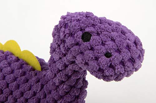 goDog 77813 Dinos Checkers Bruto with Chew Guard Technology Plush Dog Toy, Mini, Purple