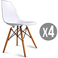 Bonebit White Set of 4 Mid Century Modern Eames Style DSW Dining Side Chair Wood Leg