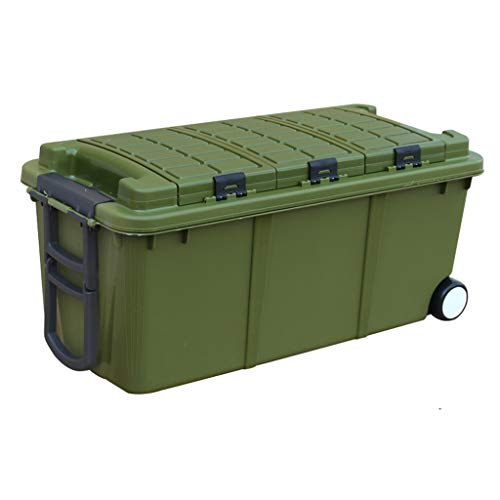 ZHAO YING Plastic Storage Box Durable Stackable Waterproof Utility Crates Car Trunk Storage Box with Lid Or Outdoor Travel Camper (Color : Green, Size : ()